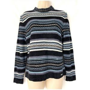St. John Sweater Small Wool Blend Striped Chenille